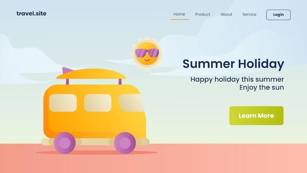 Campagna per le vacanze estive per il modello di banner della pagina di destinazione della home page del sito web
