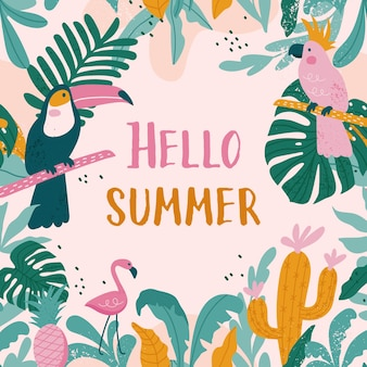 Biglietti per le vacanze estive con tucani, fenicotteri, pappagalli, cactus, foglie esotiche in stile trendy.