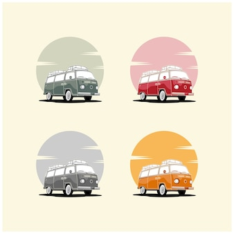 Illustrazione di vacanza estiva con trasporto di auto camper e vacanze, autobus retrò.