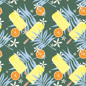 Design senza cuciture per le vacanze estive con gelato ghiaccioli, piccoli fiori, foglie e arancia.