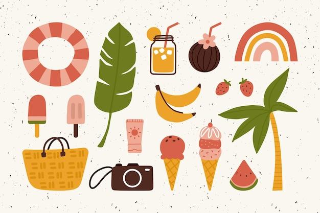 Gli elementi carini del pacchetto di adesivi per le vacanze estive scarabocchiano l'illustrazione
