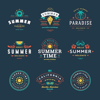 Tipografia retrò di distintivi di vacanze estive