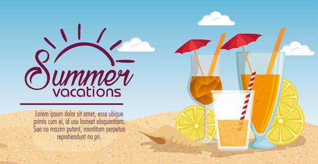Progettazione dell'illustrazione di vettore di scena della spiaggia di vacanze estive