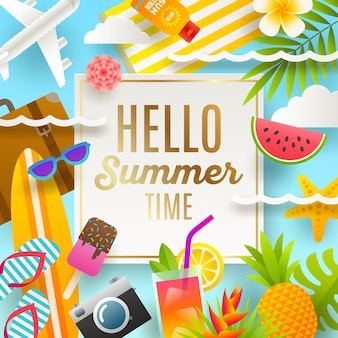 Vacanze estive e biglietto di auguri per le vacanze al mare