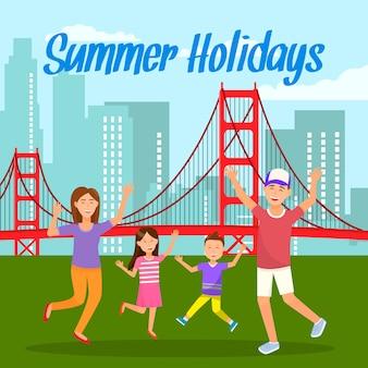 Summer holidays lettering travel postcard