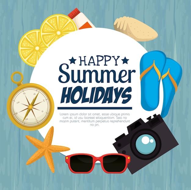 Le vacanze estive hanno fissato la progettazione dell'illustrazione di vettore delle icone