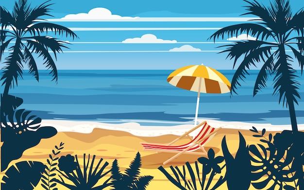 Spiaggia del mare dell'oceano del paesaggio di vista sul mare della sedia a sdraio dell'ombrello di vacanze estive di vacanza, costa, foglie di palma