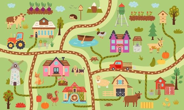 Mappa di fattoria rustica orizzontale estiva. villaggio costruttore di mappe, animali da fattoria, ranch. design della scuola materna per poster, tappeti, camera dei bambini. illustrazione di tiraggio della mano di vettore