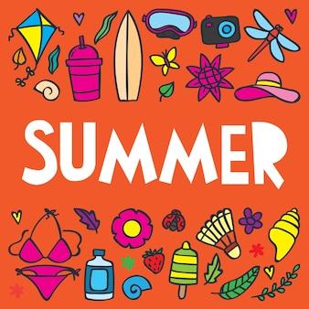 Illustrazione di estate vacanza sul modello di manifesto di vacanze.