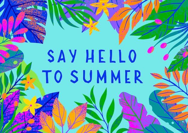 Illustrazione di estate con brillanti foglie tropicali, fiori ed elementi