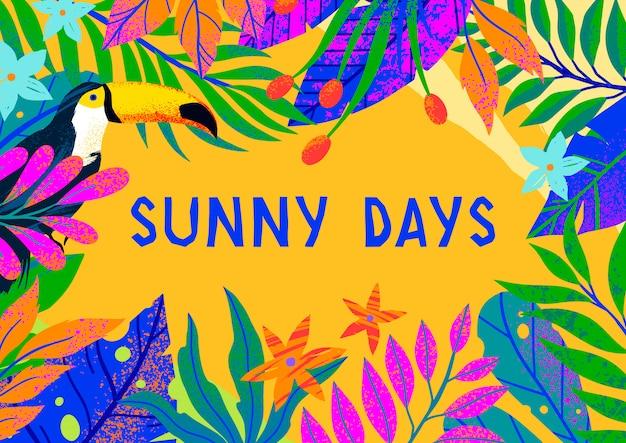 Illustrazione di estate con brillanti foglie tropicali, fiori e tucano