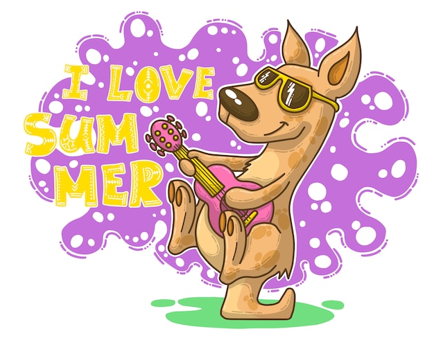 Illustrazione di estate con canguro