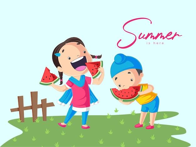 L'estate è qui design con i bambini che mangiano l'anguria