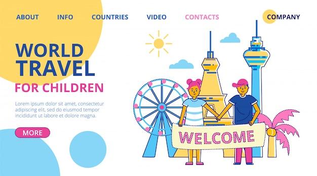 Summer kids camp world travel, illustrazione. scout avventura nella natura, vacanza viaggio. divertimento turismo all'aria aperta a sfondo foresta, bambini e insegnanti in campeggio.