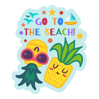 Etichetta estiva con ananas cartone animato rilassante, adesivo estate spiaggia