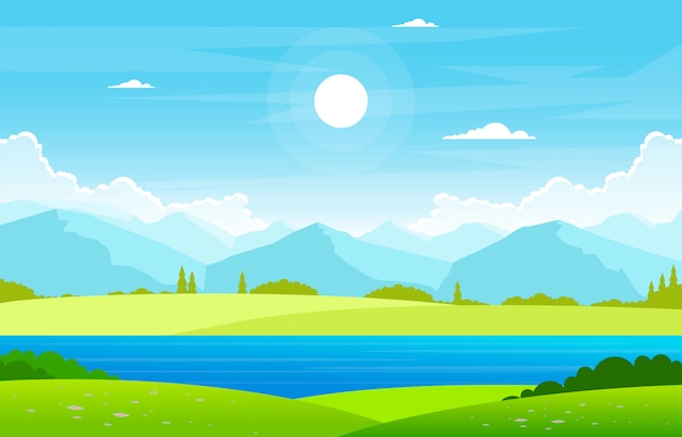 Illustrazione del paesaggio del cielo della terra del campo della natura di verde del lago summer