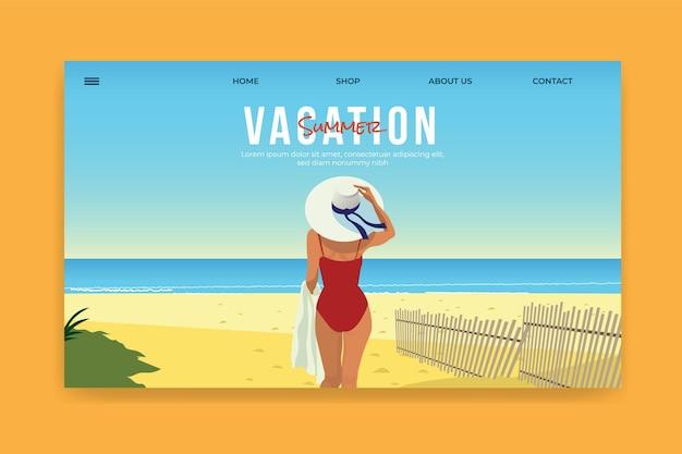 Illustrazione del modello della pagina di destinazione estiva design piatto ragazza in spiaggia