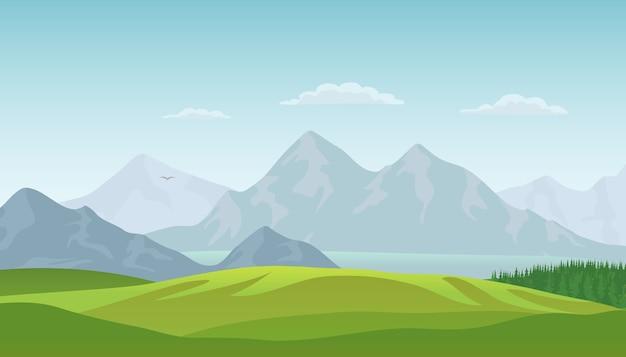 Sfondo paesaggio estivo con valle verde, boschi di pini, lago e montagne.