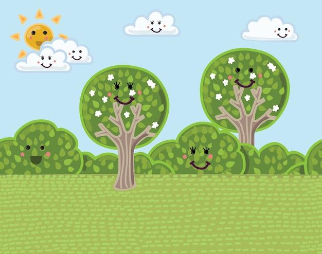 Sfondo divertente cartone animato paesaggio estivo di alberi e cespugli. modello senza cuciture orizzontale