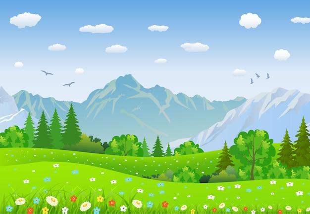 Paesaggio estivo con prati e montagne