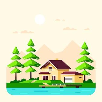 Paesaggio estivo con alberi di pino e lago