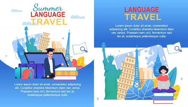 Set di banner di viaggi in lingue estive