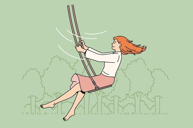 Tempo libero estivo e concetto di attività. personaggio dei cartoni animati di giovane donna sorridente che si gode il giro sulle altalene all'aperto godendosi l'illustrazione vettoriale del giro