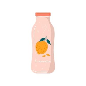 Succo di limone estivo nell'icona della bottiglia con frutta e bacche. limonata vegana e cocktail detox salutari. miscele vegetariane, bibite e frullati vitaminici rinfrescanti per succhi di frutta. vettore alla moda