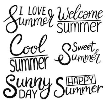 Summer lettering design set - illustrazione vettoriale disegnata a mano.