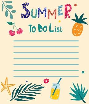 Elenco delle cose da fare per l'estate. spazi vuoti disegnati a mano estivi con foglie tropicali, ciliegia, ananas, bevanda, stelle marine. modelli per appunti, liste da fare e da acquistare. organizzatore, pianificatore, programma per il tuo design. vettore