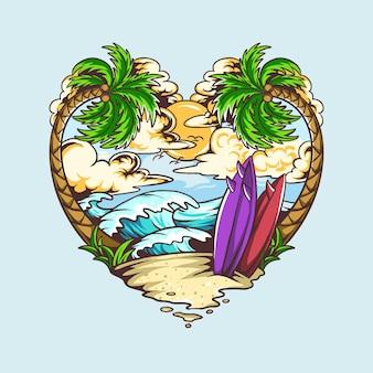 Il design a forma di cuore d'amore estivo contiene alberi di cocco da spiaggia e tavole da surf