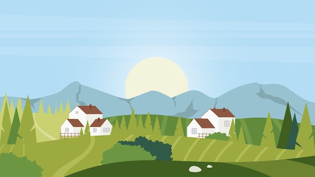Priorità bassa della natura del paesaggio del villaggio rurale di mattina di estate