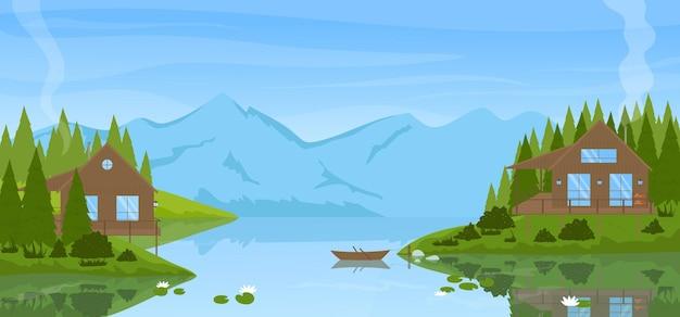 Paesaggio calmo di montagna estiva con moderne case in legno vicino alla vista panoramica della pineta del lago