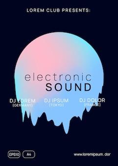 Musica estiva. modello di brochure dinamico techno club. forma e linea del gradiente olografico fluido. suono elettronico. vacanza lifestyle di danza notturna. manifesto e volantino del festival per la musica estiva.