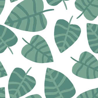 Estate natura mano disegnare stampa giungla. pianta esotica. modello tropicale, foglie di palma sfondo floreale vettoriale senza soluzione di continuità.