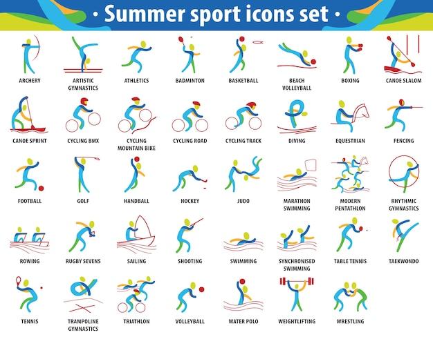 Set di icone di giochi olimpici estivi