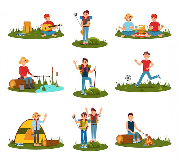 Attività estive all'aperto. bambino che gioca a calcio, uomo che cucina salsicce sul fuoco, coppia in pic-nic, gente in escursione, ragazzo che suona la chitarra in natura. set piatto