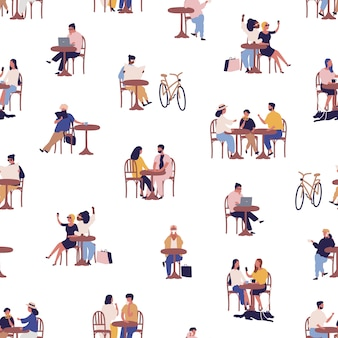 Caffè all'aperto di estate con il modello senza cuciture di rilassamento della gente del fumetto. uomini, donne e bambini variopinti che passano insieme tempo all'illustrazione piana di vettore del caffè. tempo libero persona al bistrot di strada