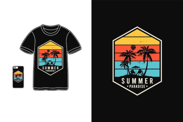 Paradiso estivo, t-shirt merchandise silhouette stile retrò