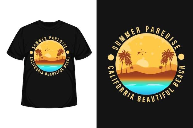 L'estate paredise il design della maglietta con la silhouette di merce da spiaggia bellissima