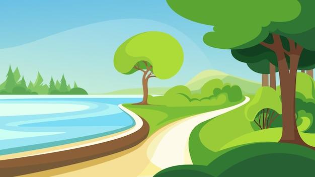 Parco estivo in riva al lago. bellissimo scenario naturale.
