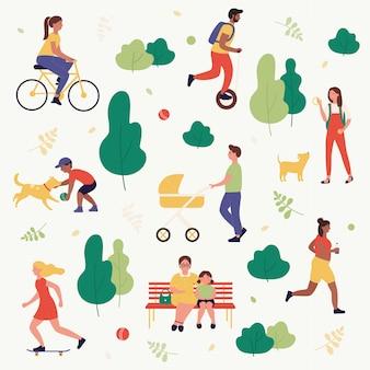 Illustrazione di attività all'aperto di concetto di parco estivo, le persone attive dei cartoni animati trascorrono del tempo insieme nel parco cittadino, camminando con i bambini, giocando con il cane, andando in bicicletta, cavalcando hoverboard.