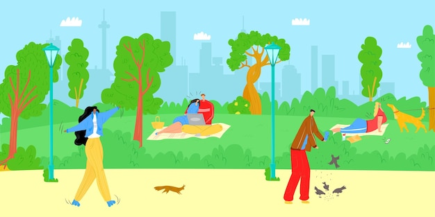 Estate parco natura illustrazione vettoriale piatto uomo donna carattere all'aperto città felice stile di vita persone ...
