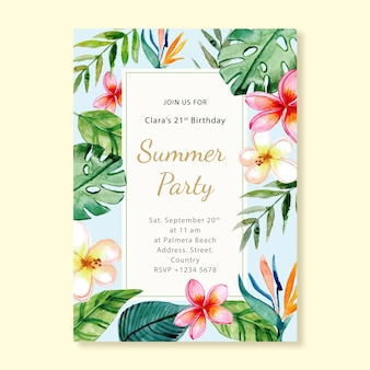 Invito alla carta di compleanno della festa estiva