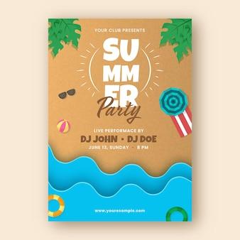 Volantino festa estiva, biglietto d'invito con elementi da spiaggia su sfondo marrone e blu.