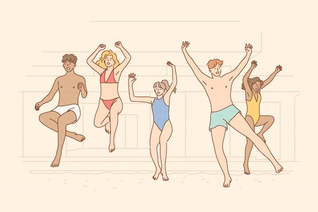 Estate, festa, divertimento, vacanze, concetto di amicizia