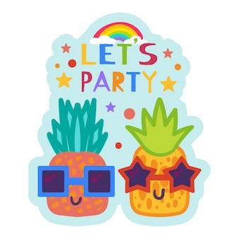Invito alla festa estiva con ananas del fumetto che indossano occhiali da sole. divertente adesivo estivo o etichetta desing con simpatici frutti tropicali. distintivi di vettore creativo