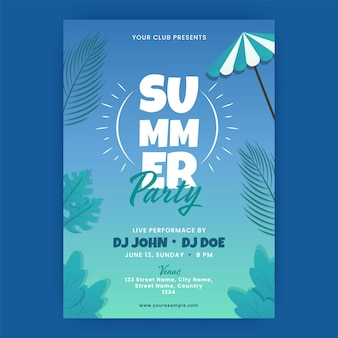 Biglietto d'invito per una festa estiva decorata con foglie tropicali in colore blu sfumato.