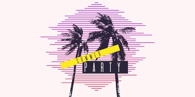 Festa estiva, poster moderno con palma. illustrazione vettoriale. sagoma di albero nero