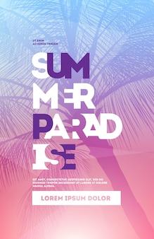 Modello di progettazione di poster festa estiva con sagome di palme. stile moderno. illustrazione vettoriale